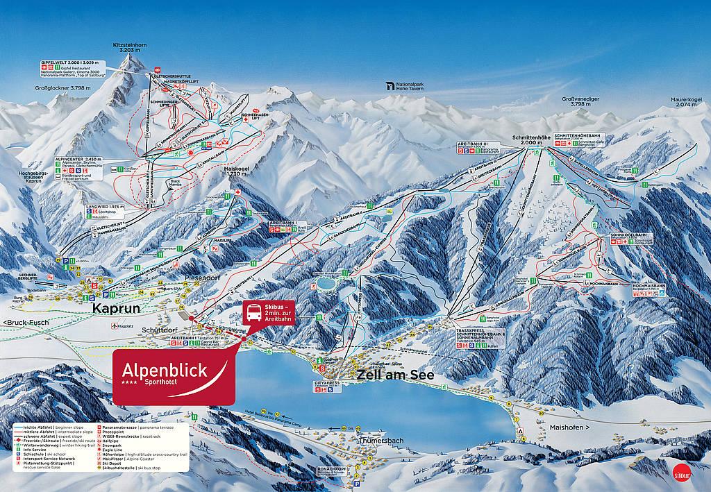 Kayak merkezleri pist haritası Zell am see alpenblick pistler