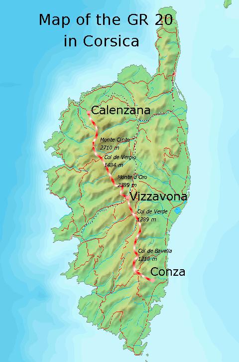 GR 20 Yürüyüş yolu haritası
